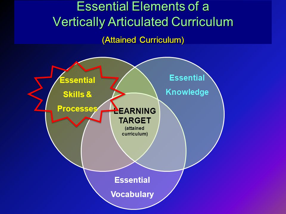 Essential Elements of a Vertically Articulated Curriculum (Attained Curriculum) Essential Skills & Processes Essential Knowledge Essential Vocabulary LEARNING TARGET (attained curriculum)