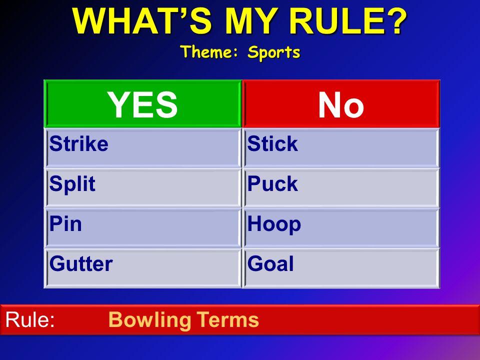 WHAT'S MY RULE Theme: Sports YESNo StrikeStick SplitPuck PinHoop GutterGoal Rule: Bowling Terms