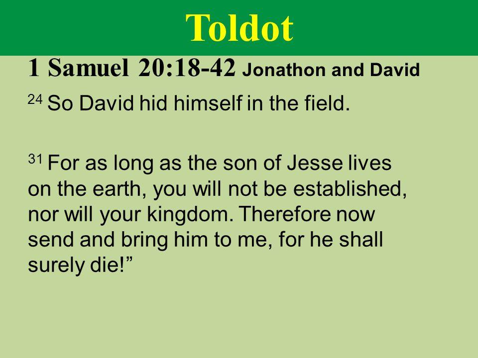 Toldot 1 Samuel 20:18-42 Jonathon and David 24 So David hid himself in the field.