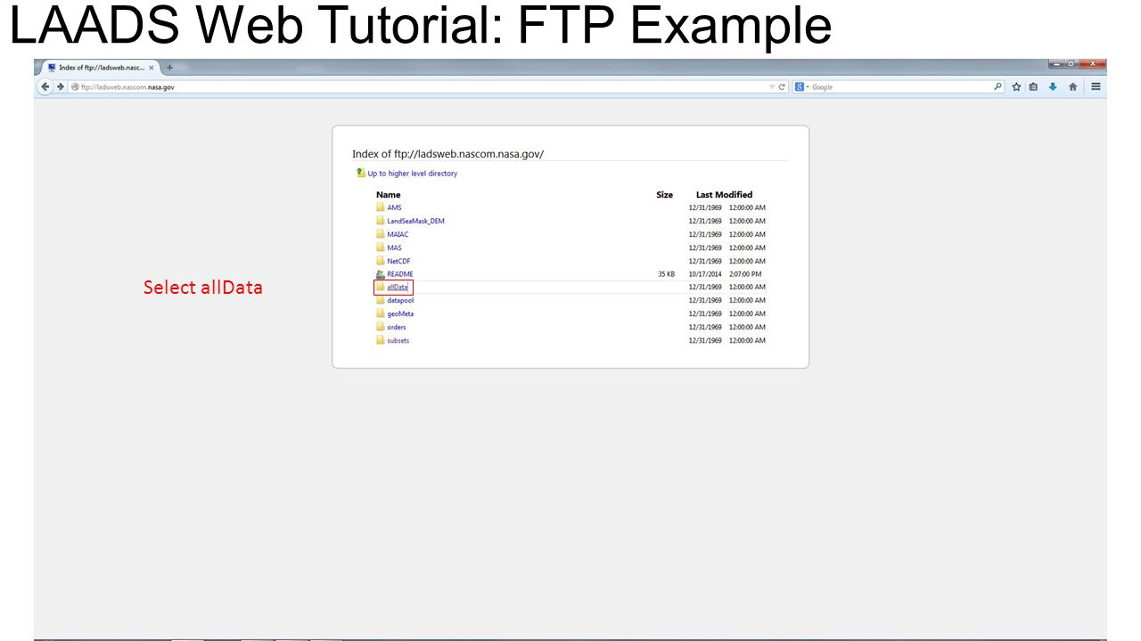Select allData LAADS Web Tutorial: FTP Example