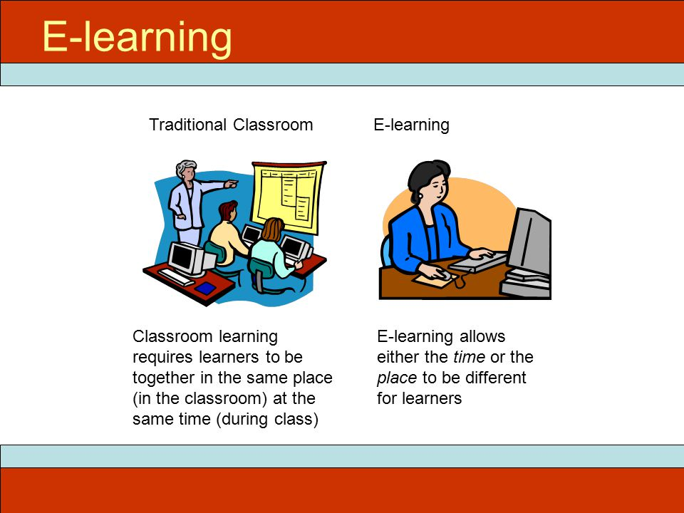E-learning Classroom learning requires learners to be together in the same place (in the classroom) at the same time (during class) E-learning allows either the time or the place to be different for learners Traditional ClassroomE-learning