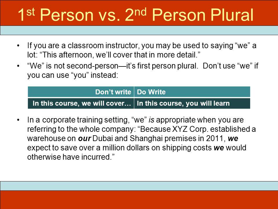1 st Person vs.
