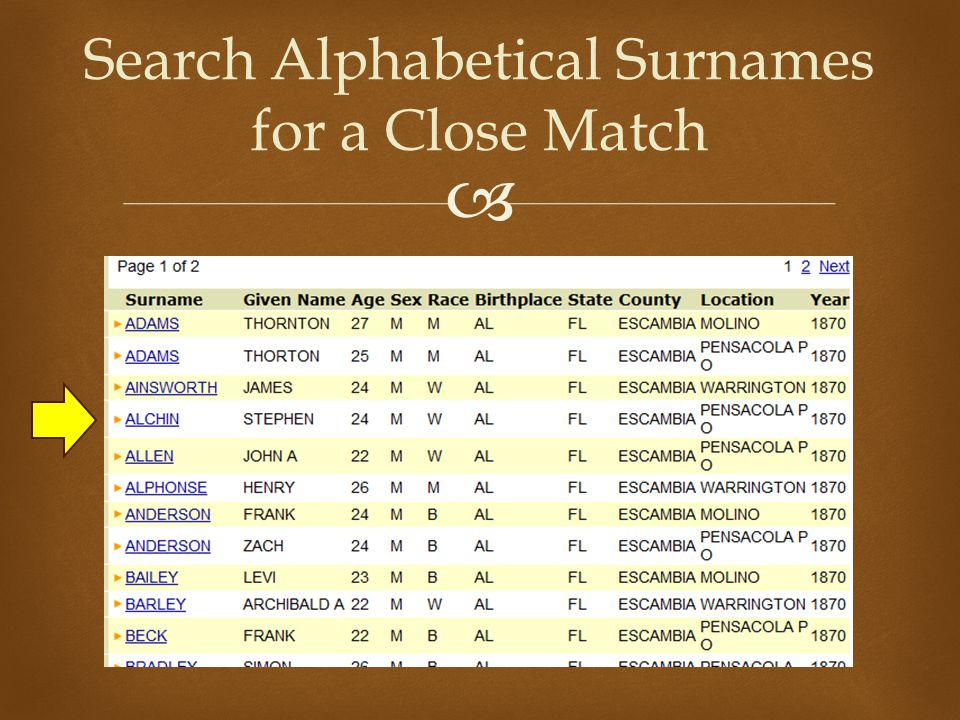  Search Alphabetical Surnames for a Close Match