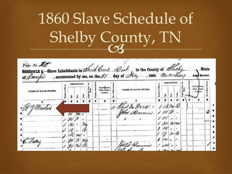  1860 Slave Schedule of Shelby County, TN