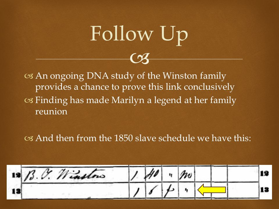   An ongoing DNA study of the Winston family provides a chance to prove this link conclusively  Finding has made Marilyn a legend at her family reunion  And then from the 1850 slave schedule we have this: Follow Up