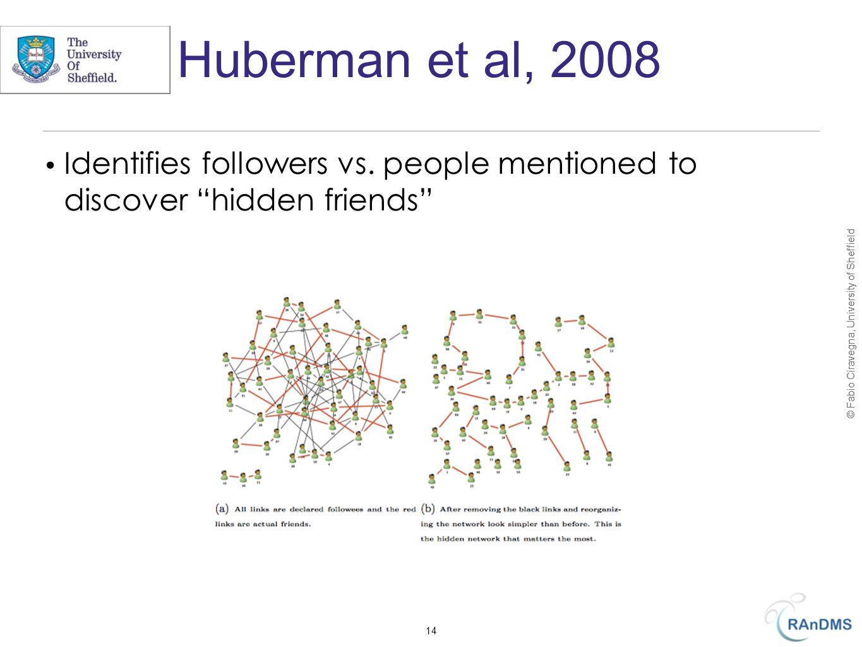 © Fabio Ciravegna, University of Sheffield Huberman et al, 2008 Identifies followers vs.