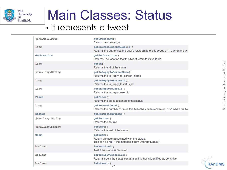© Fabio Ciravegna, University of Sheffield Main Classes: Status 27 It represents a tweet