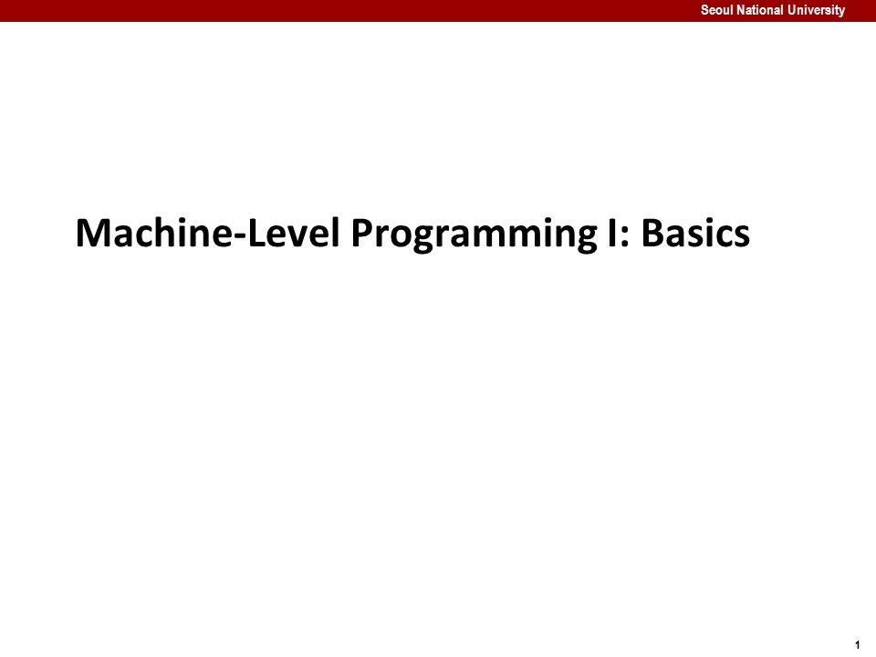 2 Seoul National University Machine Programming I: Basics History of Intel processors and architectures C, assembly, machine code Assembly Basics: Registers, operands, move Intro to x86-64