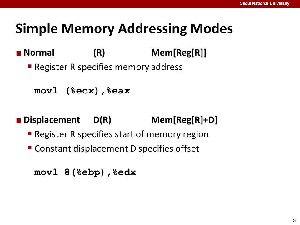 21 Seoul National University Simple Memory Addressing Modes Normal(R)Mem[Reg[R]]  Register R specifies memory address movl (%ecx),%eax DisplacementD(