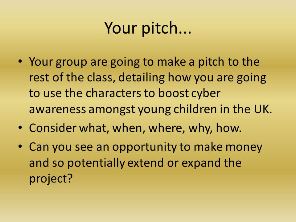 Your pitch...
