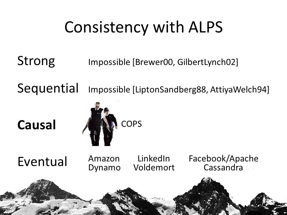 Consistency with ALPS Strong Sequential Causal Eventual Impossible [Brewer00, GilbertLynch02] Impossible [LiptonSandberg88, AttiyaWelch94] COPS Amazon LinkedIn Facebook/Apache Dynamo Voldemort Cassandra