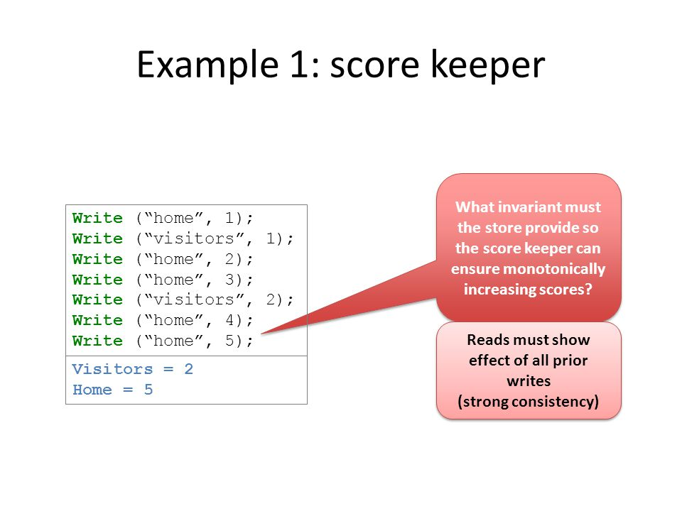 Example 1: score keeper What invariant must the store provide so the score keeper can ensure monotonically increasing scores.