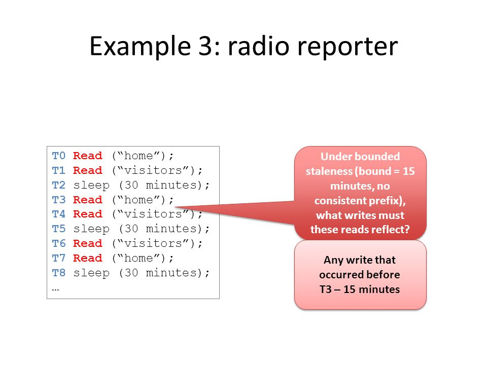 Example 3: radio reporter T0 Read ( home ); T1 Read ( visitors ); T2 sleep (30 minutes); T3 Read ( home ); T4 Read ( visitors ); T5 sleep (30 minutes); T6 Read ( visitors ); T7 Read ( home ); T8 sleep (30 minutes); … Under bounded staleness (bound = 15 minutes, no consistent prefix), what writes must these reads reflect.