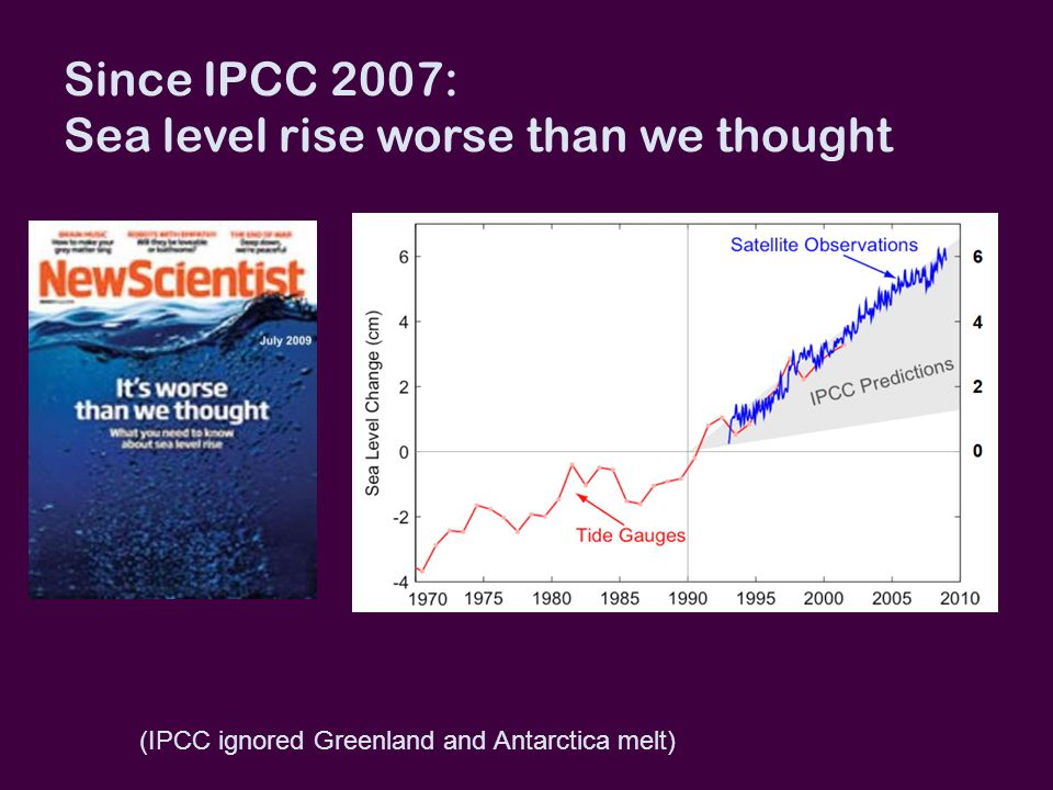 Since IPCC 2007: Sea level rise worse than we thought (IPCC ignored Greenland and Antarctica melt)