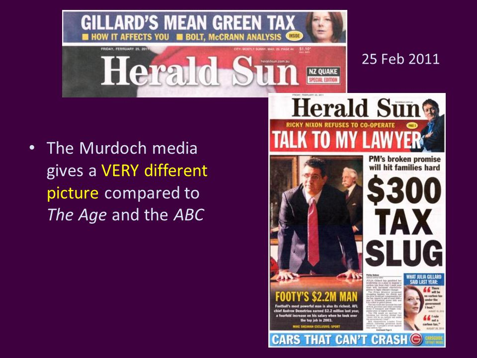25 Feb 2011 The Murdoch media gives a VERY different picture compared to The Age and the ABC