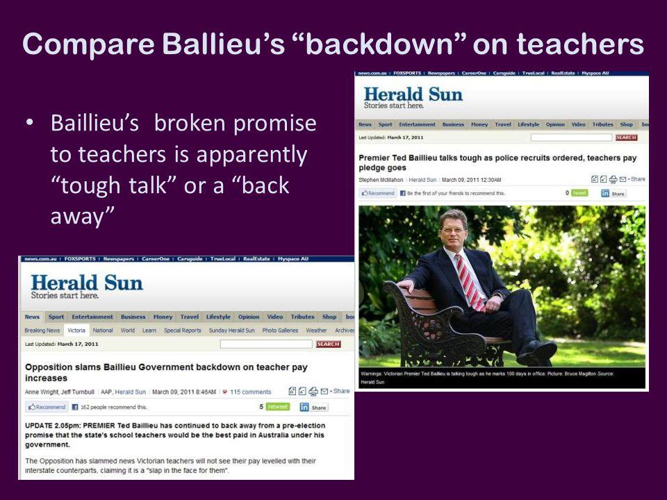 "Compare Ballieu's ""backdown"" on teachers Baillieu's broken promise to teachers is apparently ""tough talk"" or a ""back away"""