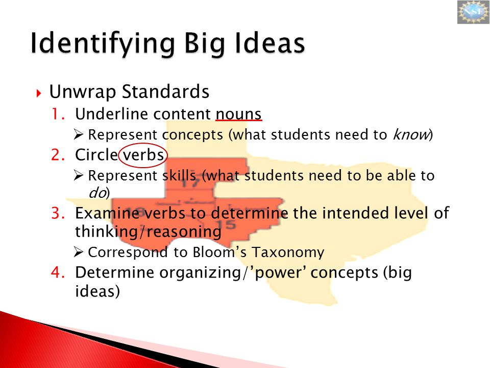  Unwrap Standards 1.Underline content nouns  Represent concepts (what students need to know) 2.Circle verbs  Represent skills (what students need t
