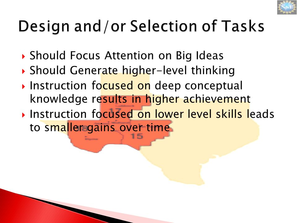  Strategy: ◦ Examine verbs in question prompt (instruction) ◦ Think about the steps involved in the expected solution strategies  Review page 9 in the instructional guide and discuss why each task is categorized the way it is.