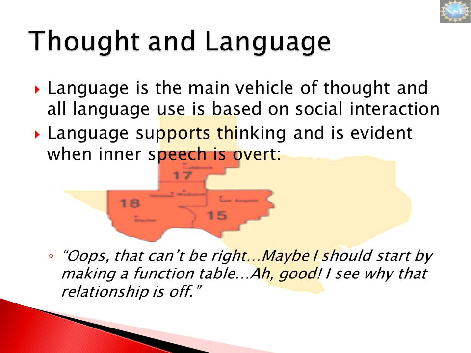  Language is the main vehicle of thought and all language use is based on social interaction  Language supports thinking and is evident when inner speech is overt: ◦ Oops, that can't be right…Maybe I should start by making a function table…Ah, good.