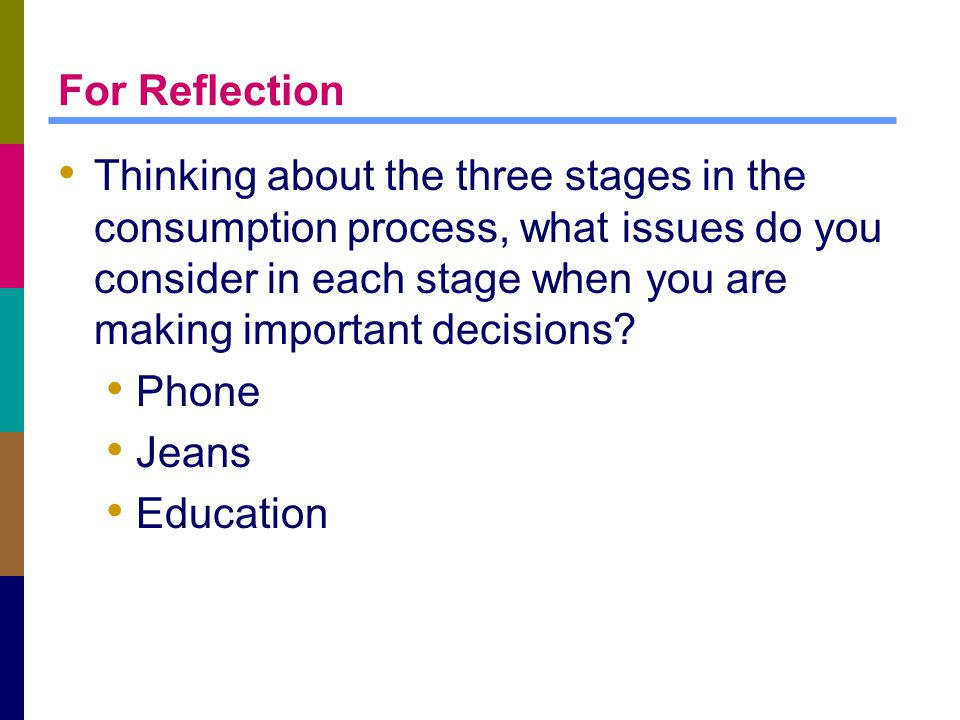 For Reflection Thinking about the three stages in the consumption process, what issues do you consider in each stage when you are making important dec