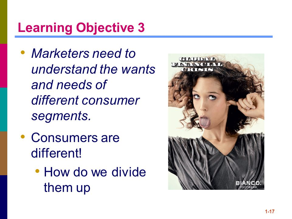 1-17 Learning Objective 3 Marketers need to understand the wants and needs of different consumer segments.