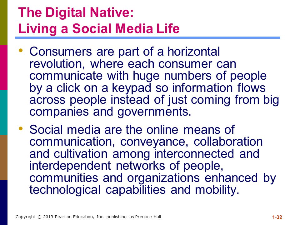 The Digital Native: Living a Social Media Life Consumers are part of a horizontal revolution, where each consumer can communicate with huge numbers of