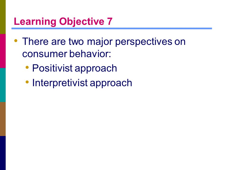 Learning Objective 7 There are two major perspectives on consumer behavior: Positivist approach Interpretivist approach