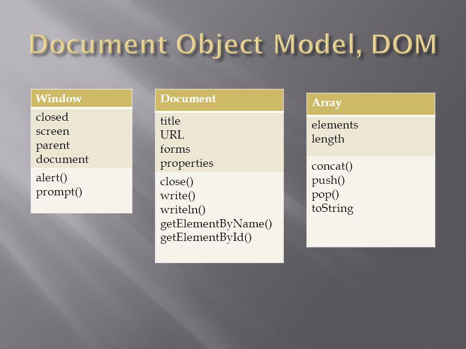 Document title URL forms properties close() write() writeln() getElementByName() getElementById() Window closed screen parent document alert() prompt() Array elements length concat() push() pop() toString