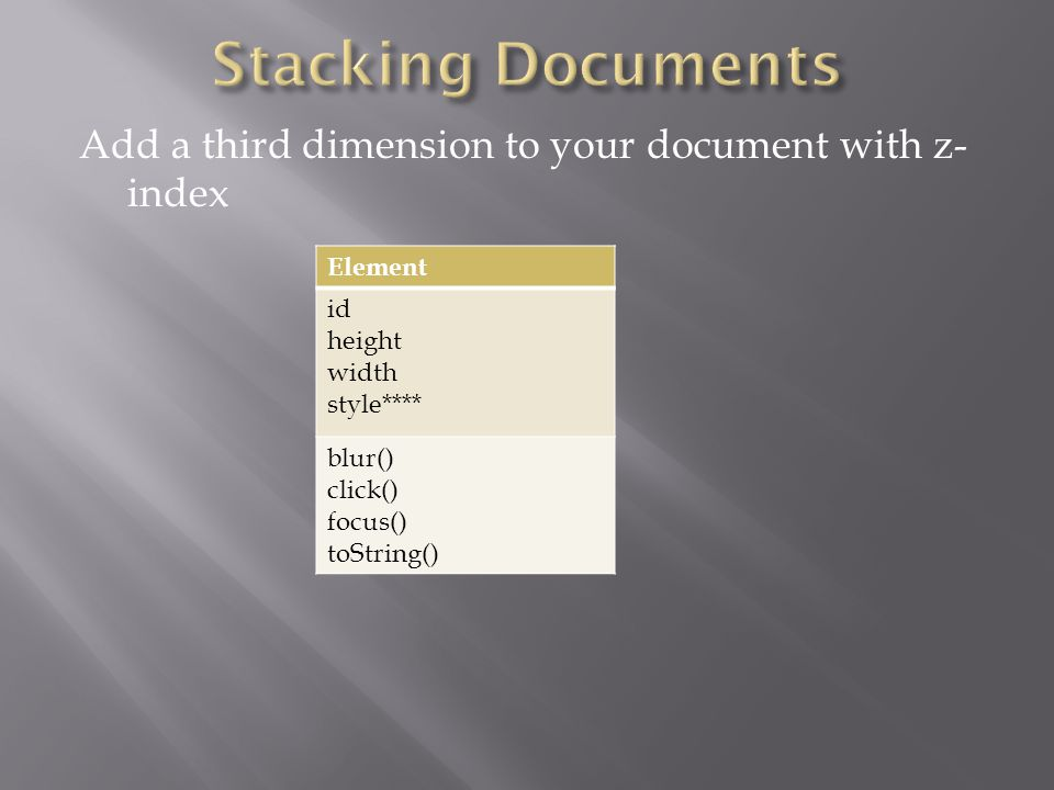Add a third dimension to your document with z- index Element id height width style**** blur() click() focus() toString()