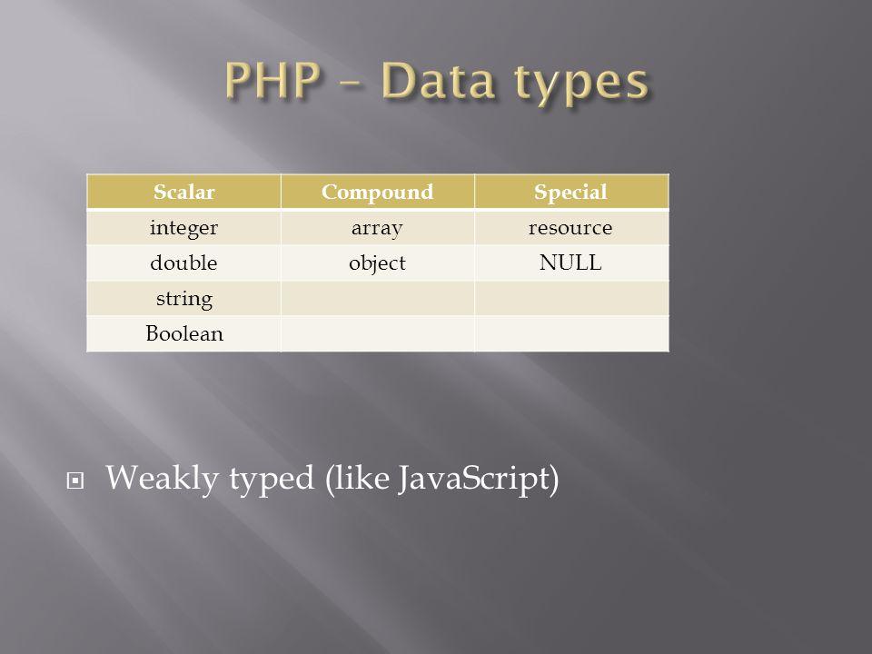  Weakly typed (like JavaScript) ScalarCompoundSpecial integerarrayresource doubleobjectNULL string Boolean