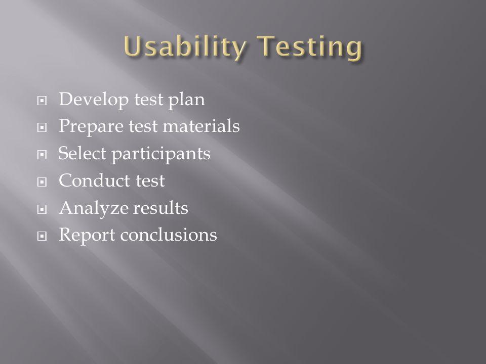  Develop test plan  Prepare test materials  Select participants  Conduct test  Analyze results  Report conclusions