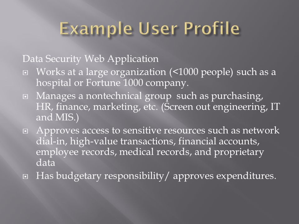 Data Security Web Application  Works at a large organization (<1000 people) such as a hospital or Fortune 1000 company.