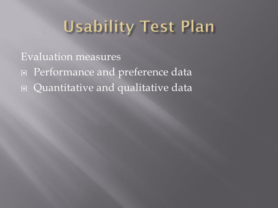 Evaluation measures  Performance and preference data  Quantitative and qualitative data