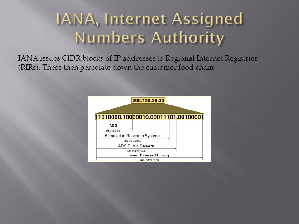 IANA issues CIDR blocks of IP addresses to Regional Internet Registries (RIRs). These then percolate down the customer food chain