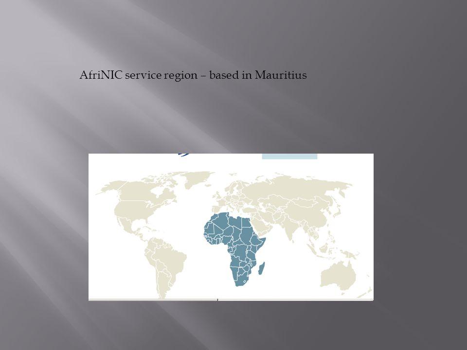 AfriNIC service region – based in Mauritius