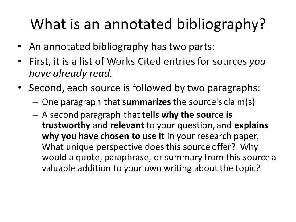Research Paper With Annotated Bibliography