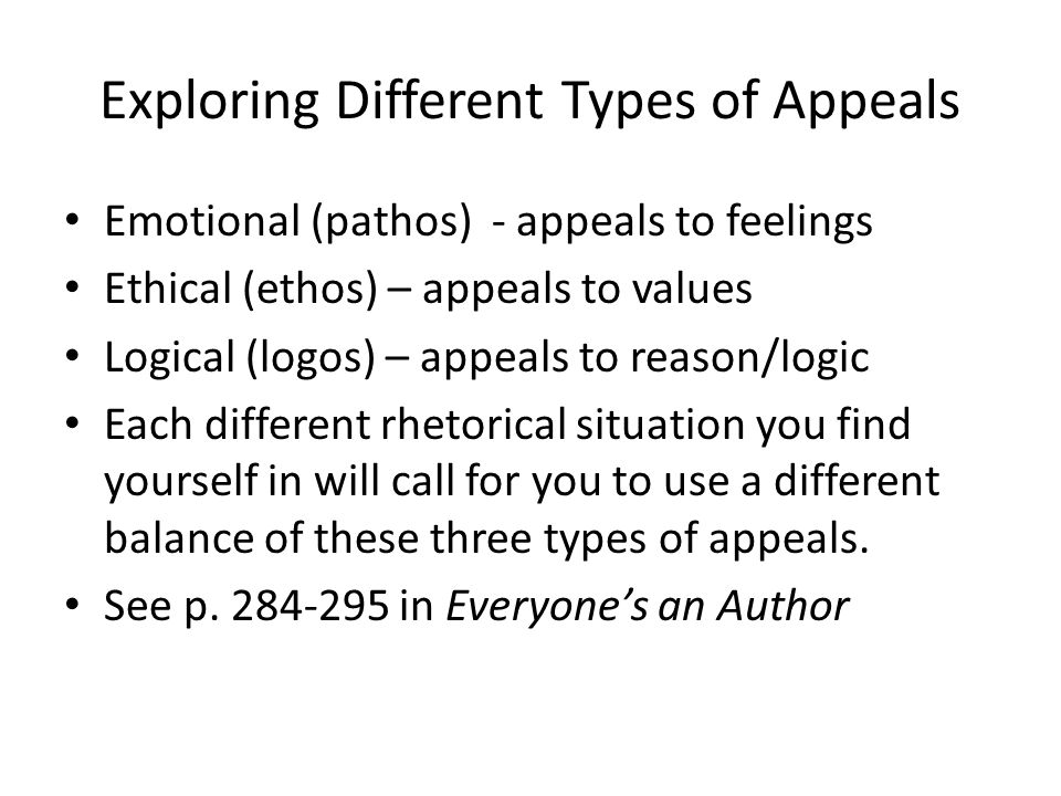 Exploring Different Types of Appeals Emotional (pathos) - appeals to feelings Ethical (ethos) – appeals to values Logical (logos) – appeals to reason/