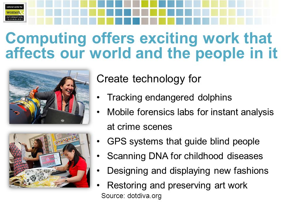 Computing offers exciting work that affects our world and the people in it Create technology for Tracking endangered dolphins Mobile forensics labs for instant analysis at crime scenes GPS systems that guide blind people Scanning DNA for childhood diseases Designing and displaying new fashions Restoring and preserving art work Source: dotdiva.org