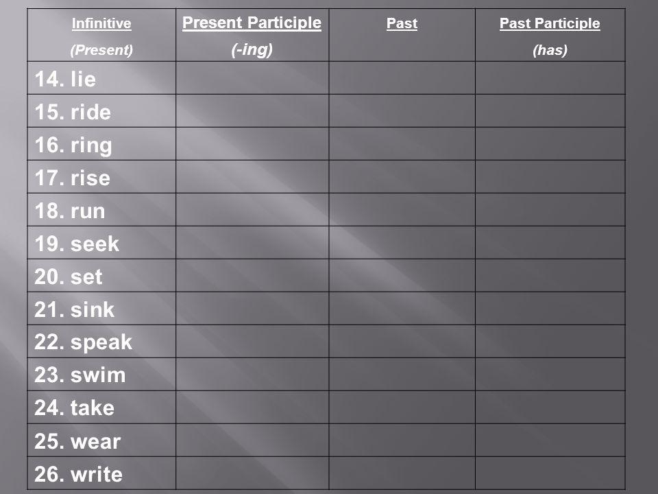 Infinitive Present Participle PastPast Participle (Present) (-ing) (has) 14.