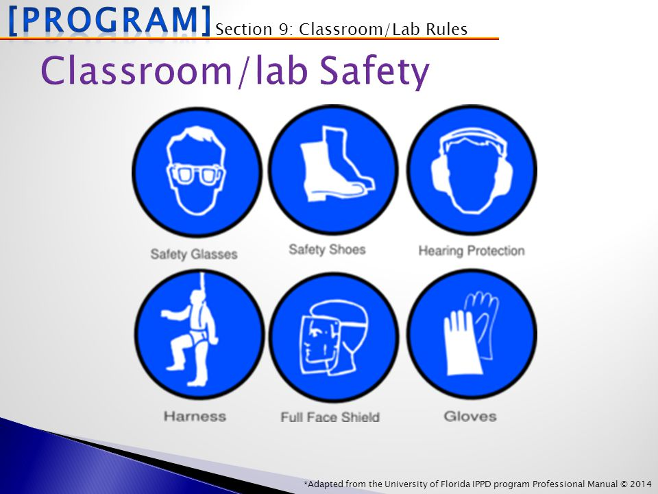 *Adapted from the University of Florida IPPD program Professional Manual © 2014 Section 9: Classroom/Lab Rules