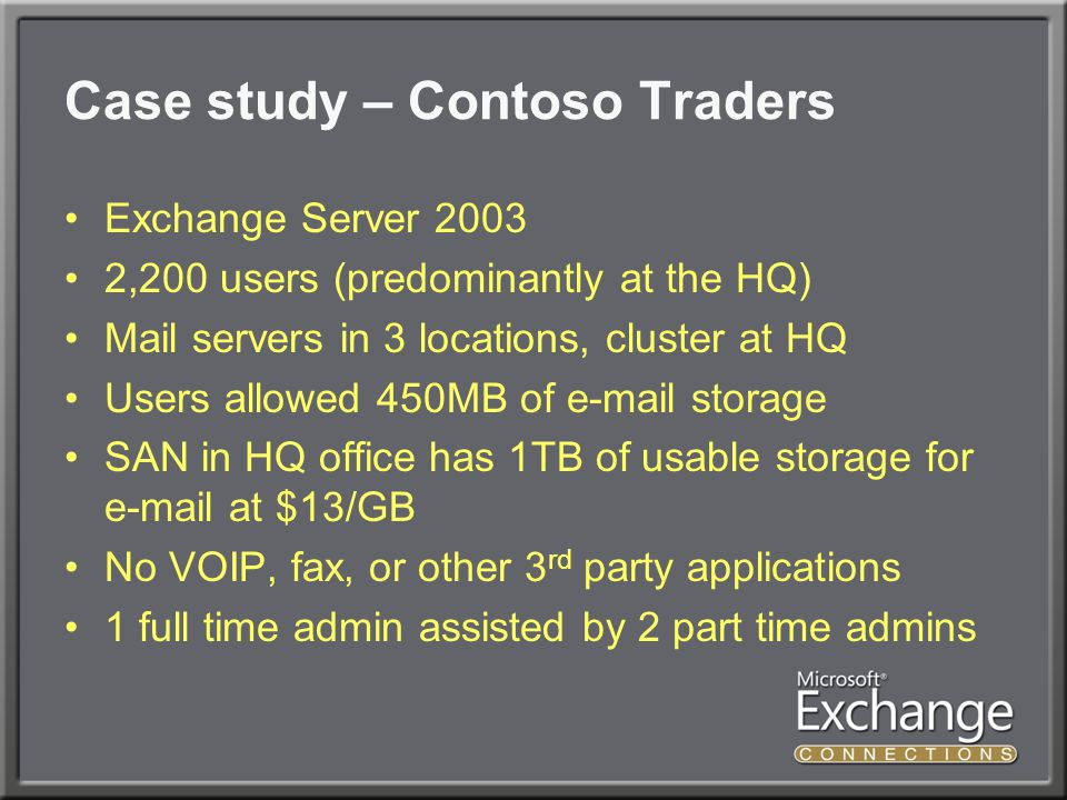 Case study – Contoso Traders Exchange Server 2003 2,200 users (predominantly at the HQ) Mail servers in 3 locations, cluster at HQ Users allowed 450MB of e-mail storage SAN in HQ office has 1TB of usable storage for e-mail at $13/GB No VOIP, fax, or other 3 rd party applications 1 full time admin assisted by 2 part time admins