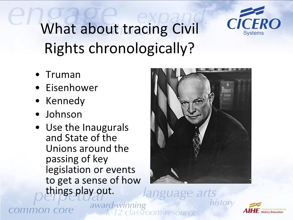 What about tracing Civil Rights chronologically.