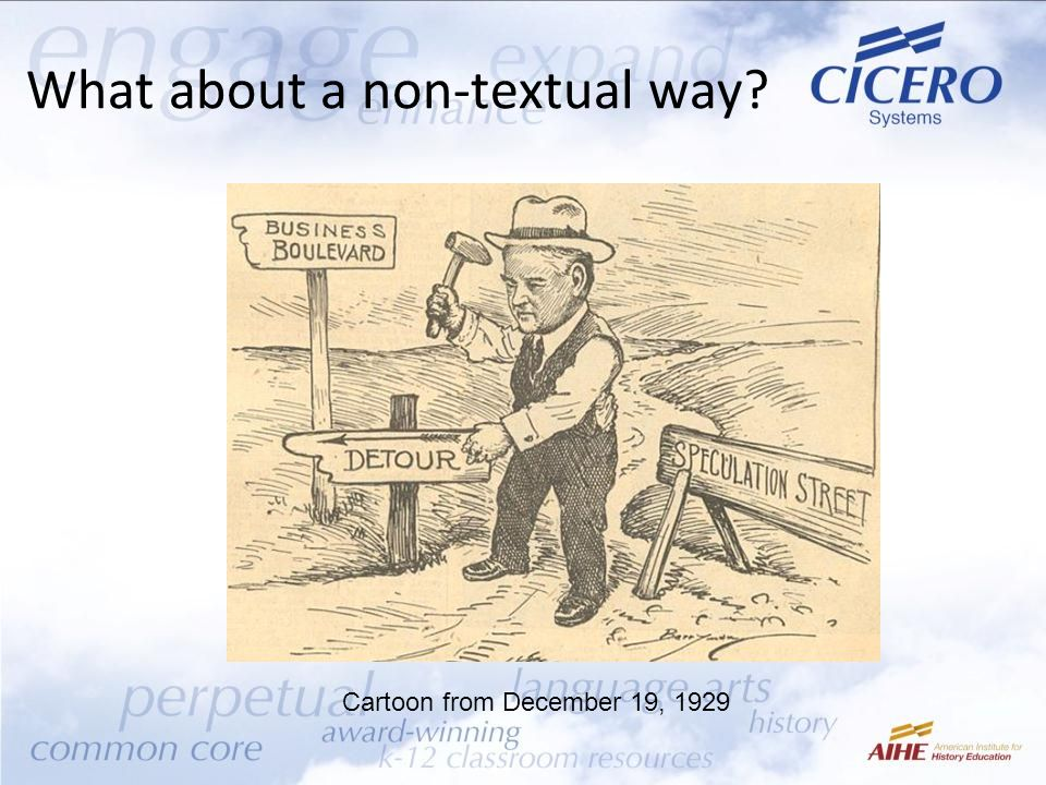 What about a non-textual way? Cartoon from December 19, 1929
