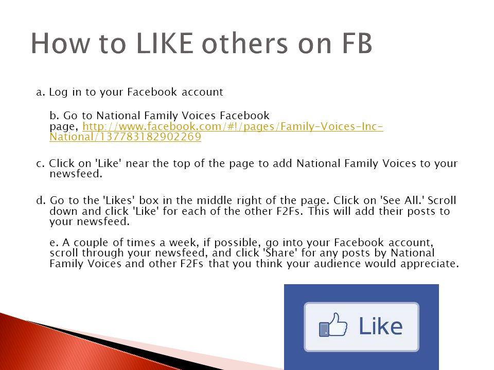 a. Log in to your Facebook account b.
