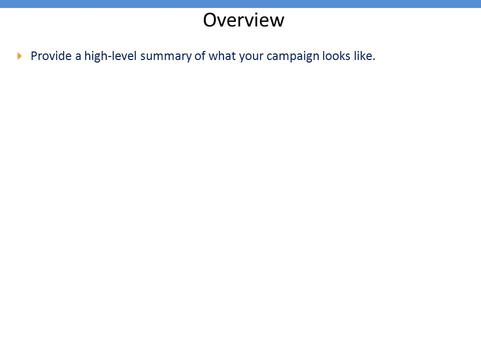 Overview  Provide a high-level summary of what your campaign looks like.