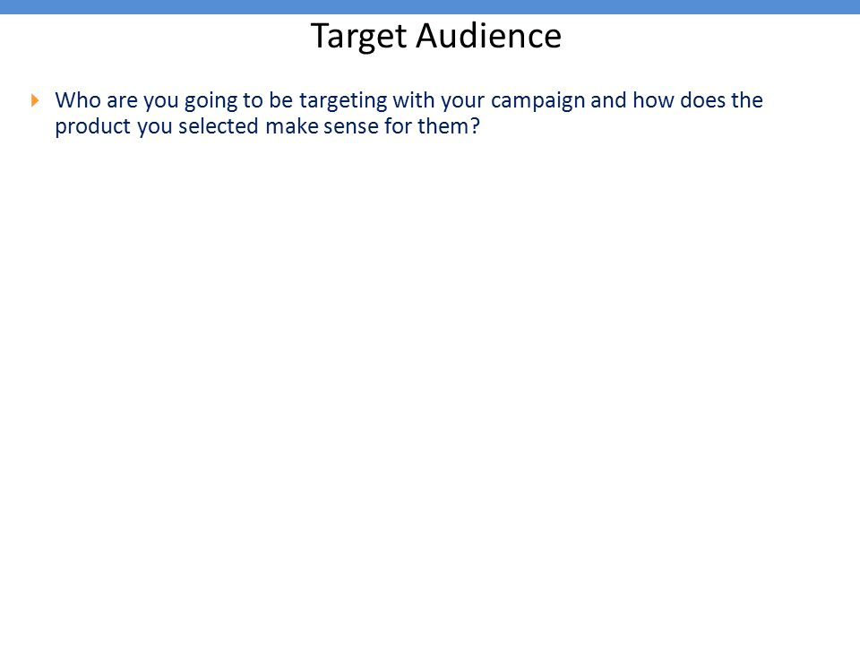 Target Audience  Who are you going to be targeting with your campaign and how does the product you selected make sense for them?