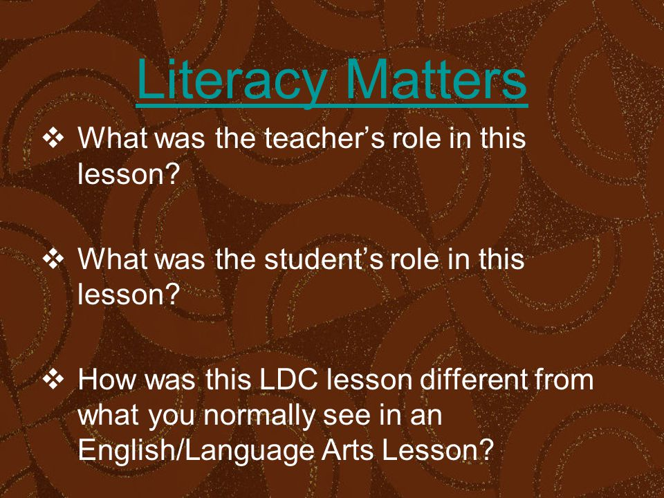 Literacy Matters  What was the teacher's role in this lesson.
