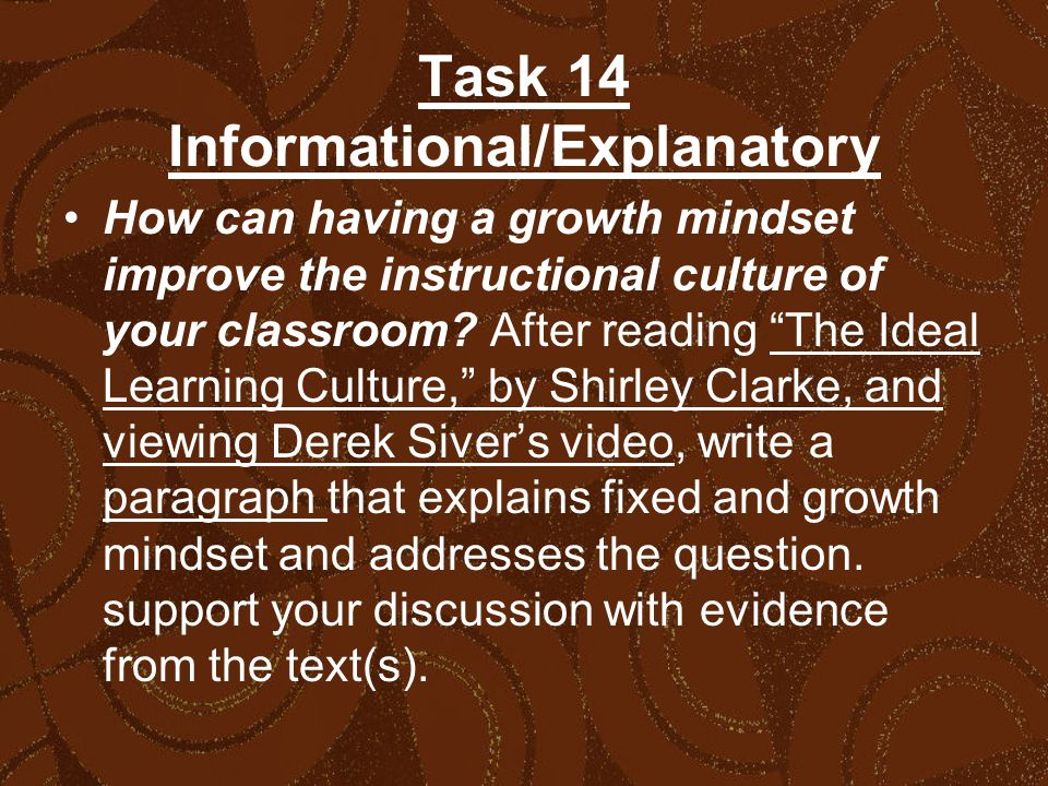 Task 14 Informational/Explanatory How can having a growth mindset improve the instructional culture of your classroom.