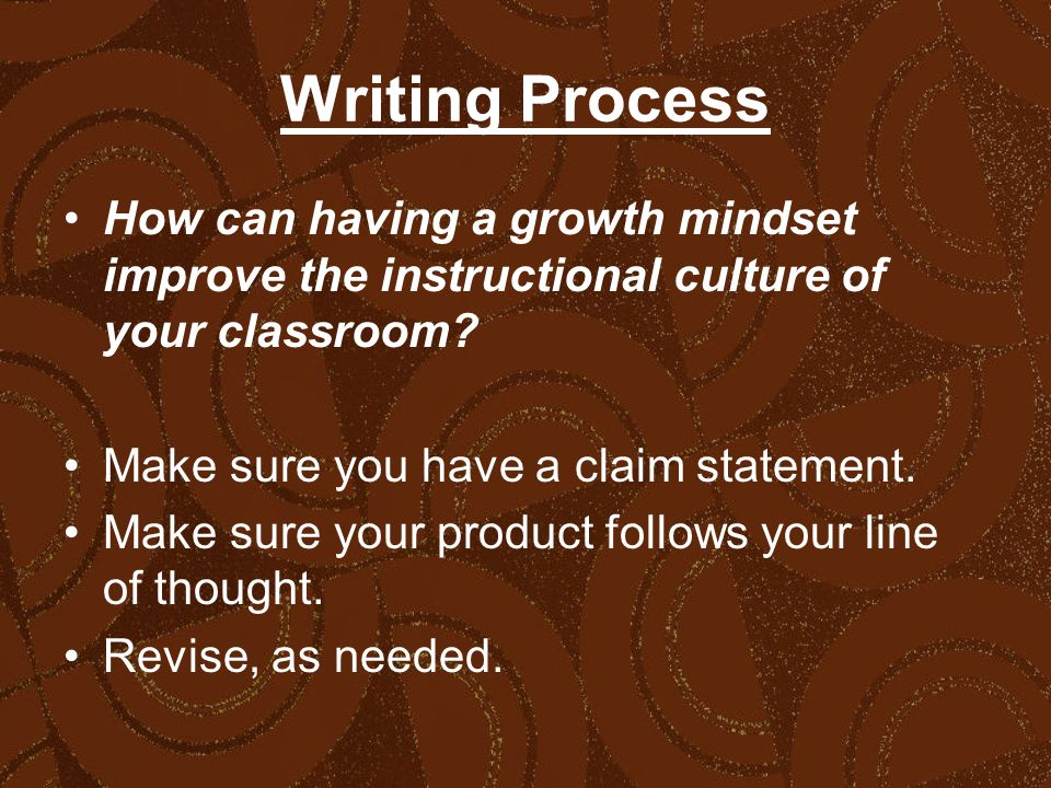 Writing Process How can having a growth mindset improve the instructional culture of your classroom.