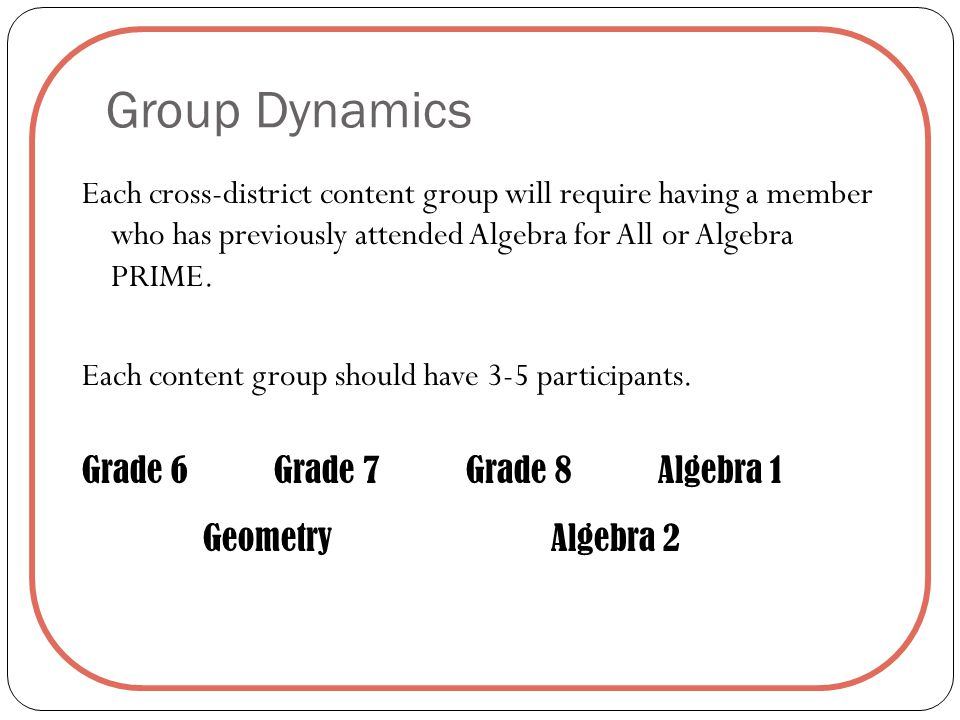 Group Dynamics Each cross-district content group will require having a member who has previously attended Algebra for All or Algebra PRIME.
